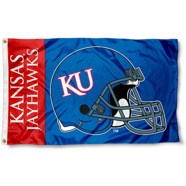 Kansas College Football Flag measures 3x5 feet, is made of 100% polyester, offers a double stitched perimeter, has two metal grommets, and offers dye sublimated NCAA team logos and insignias. Our Kansas College Football Flag is officially licensed by the selected university and NCAA.