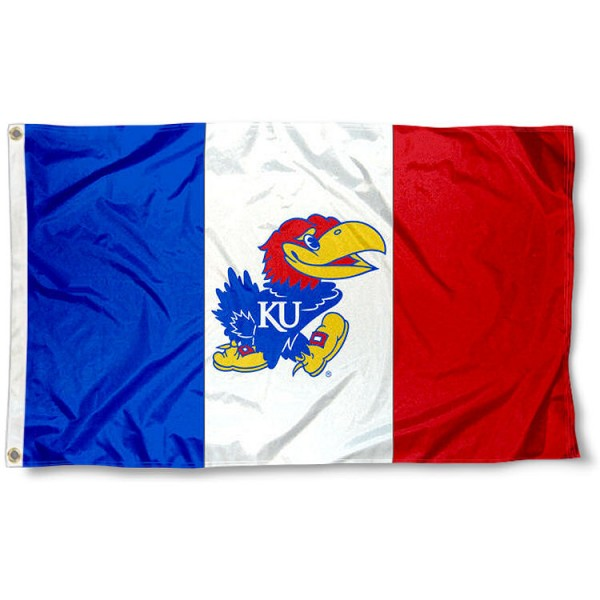 Kansas Jayhawks 3 Panel Logo Flag measures 3x5 feet, is made of 100% polyester, offers quadruple stitched flyends, has two metal grommets, and offers screen printed NCAA team logos and insignias. Our Kansas Jayhawks 3 Panel Logo Flag is officially licensed by the selected university and NCAA.