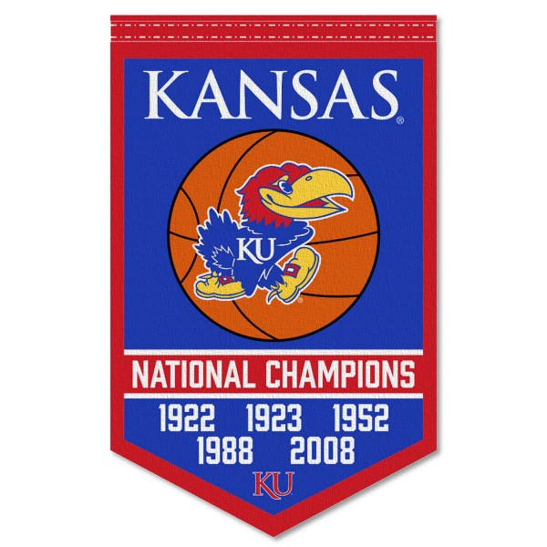 Kansas Jayhawks 5 Time Basketball National Champions Banner consists of our sports banner which measures 15x24 inches, is constructed of rigid felt, is single sided imprinted, and offers a pennant sleeve for insertion of a pennant stick, if desired. This sports banner is a unique collectible and keepsake of the game and is Officially Licensed and University, School, and College Approved.