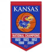 Kansas Jayhawks 5 Time Basketball National Champions Banner