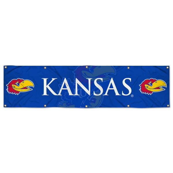 Kansas Jayhawks 8 Foot Large Banner measures 2x8 feet and displays Kansas Jayhawks logos. Our Kansas Jayhawks 8 Foot Large Banner is made of thick polyester and ten grommets around the perimeter for hanging securely. These banners for Kansas Jayhawks are officially licensed by the NCAA.