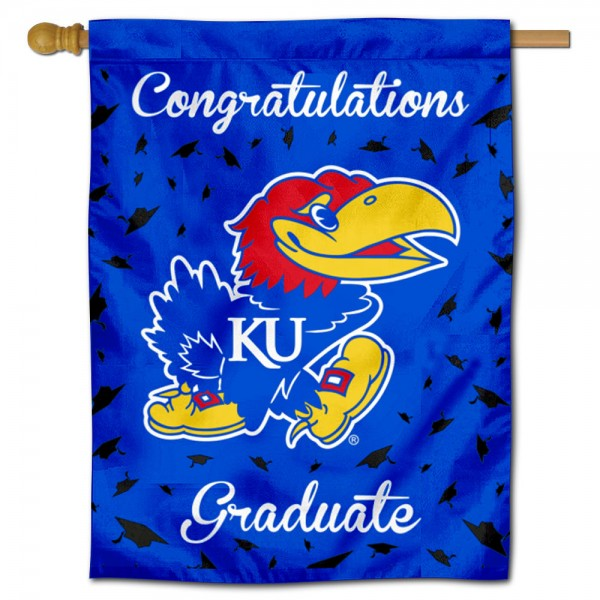 Kansas Jayhawks Congratulations Graduate Flag measures 30x40 inches, is made of poly, has a top hanging sleeve, and offers dye sublimated Kansas Jayhawks logos. This Decorative Kansas Jayhawks Congratulations Graduate House Flag is officially licensed by the NCAA.