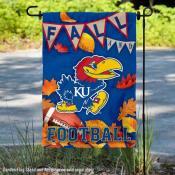 Kansas Jayhawks Fall Football Autumn Leaves Decorative Garden Flag