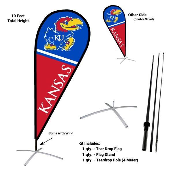Kansas Jayhawks Feather Flag Kit measures a tall 10' when fully assembled. The kit includes a Feather Flag, 3 Piece Fiberglass Pole, and matching Metal Feather Flag Stand. Our Kansas Jayhawks Feather Flag Kit easily assembles and is NCAA Officially Licensed by the selected school or university.