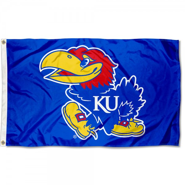 Kansas Jayhawks Flag measures 3x5 feet, is made of 100% polyester, offers quadruple stitched flyends, has two metal grommets, and offers screen printed NCAA team logos and insignias. Our Kansas Jayhawks Flag is officially licensed by the selected university and NCAA.