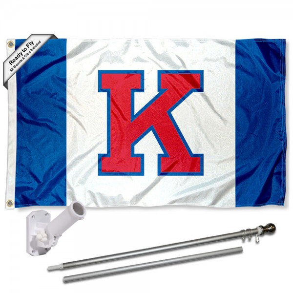 Our Kansas Jayhawks Flag Pole and Bracket Kit includes the flag as shown and the recommended flagpole and flag bracket. The flag is made of polyester, has quad-stitched flyends, and the NCAA Licensed team logos are double sided screen printed. The flagpole and bracket are made of rust proof aluminum and includes all hardware so this kit is ready to install and fly.