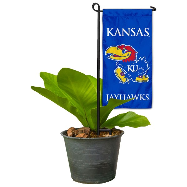 "Kansas Jayhawks Flower Pot Topper Flag kit includes our 4""x8"" mini garden banner and 6"" x 14"" mini garden banner stand. The mini flag is made of 1-ply polyester, has screen printed logos and the garden stand is made of steel and powder coated black. This kit is NCAA Officially Licensed by the selected college or university."