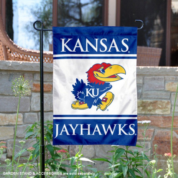 Kansas Jayhawks Garden Flag is 13x18 inches in size, is made of 2-layer polyester, screen printed logos and lettering. Available with Same Day Express Shipping, Our Kansas Jayhawks Garden Flag is officially licensed and approved by the NCAA.