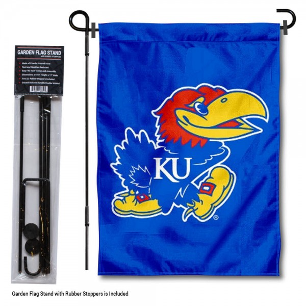 "Kansas Jayhawks Garden Flag and Stand kit includes our 13""x18"" garden banner which is made of 2 ply poly with liner and has screen printed licensed logos. Also, a 40""x17"" inch garden flag stand is included so your Kansas Jayhawks Garden Flag and Stand is ready to be displayed with no tools needed for setup. Fast Overnight Shipping is offered and the flag is Officially Licensed and Approved by the selected team."