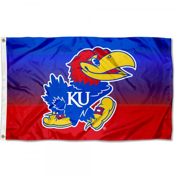 Kansas Jayhawks Gradient Ombre Flag measures 3x5 feet, is made of 100% polyester, offers quadruple stitched flyends, has two metal grommets, and offers screen printed NCAA team logos and insignias. Our Kansas Jayhawks Gradient Ombre Flag is officially licensed by the selected university and NCAA.