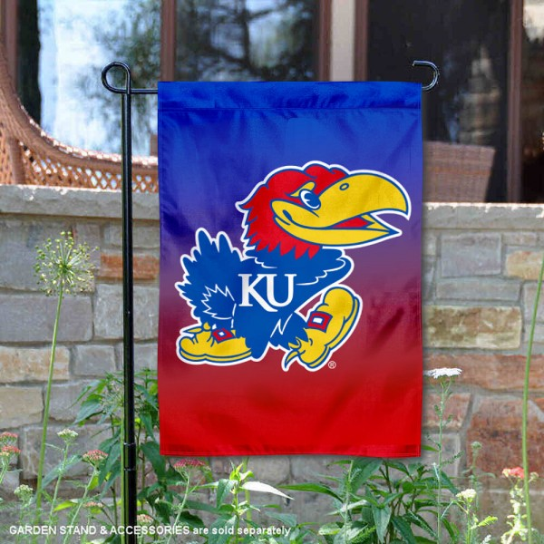 Kansas Jayhawks Gradient Ombre Logo Garden Flag is 13x18 inches in size, is made of thick blockout polyester, screen printed university athletic logos and lettering, and is readable and viewable correctly on both sides. Available same day shipping, our Kansas Jayhawks Gradient Ombre Logo Garden Flag is officially licensed and approved by the university and the NCAA.