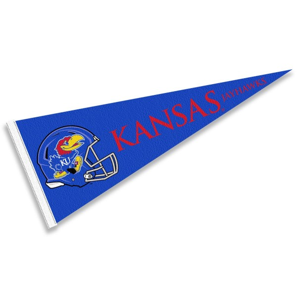 Kansas Jayhawks Helmet Pennant consists of our full size sports pennant which measures 12x30 inches, is constructed of felt, is single sided imprinted, and offers a pennant sleeve for insertion of a pennant stick, if desired. This Kansas Jayhawks Pennant Decorations is Officially Licensed by the selected university and the NCAA.