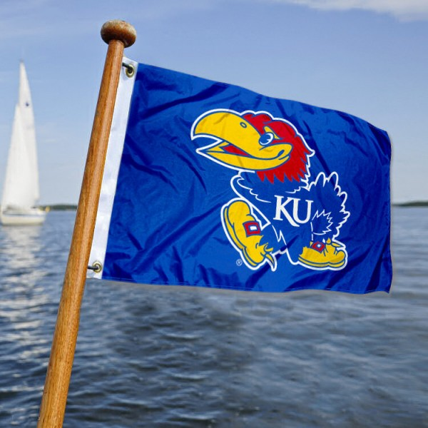 Kansas Jayhawks Nautical Flag measures 12x18 inches, is made of two-ply polyesters, offers quadruple stitched flyends for durability, has two metal grommets, and is viewable from both sides. Our Kansas Jayhawks Nautical Flag is officially licensed by the selected university and the NCAA and can be used as a motorcycle flag, golf cart flag, or ATV flag