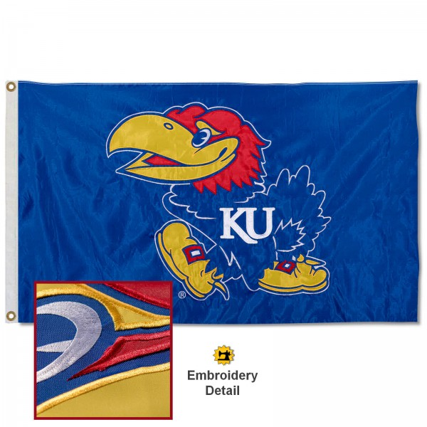 Kansas Jayhawks Nylon Embroidered Flag measures 3'x5', is made of 100% nylon, has quadruple flyends, two metal grommets, and has double sided appliqued and embroidered University logos. These Kansas Jayhawks 3x5 Flags are officially licensed by the selected university and the NCAA.
