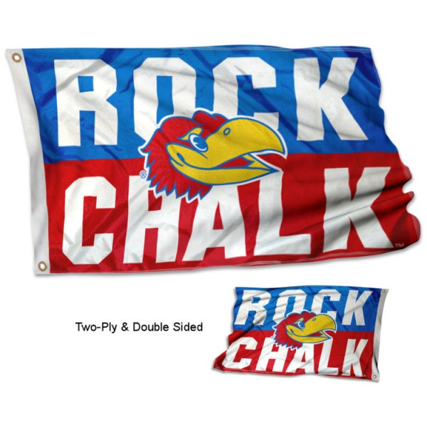 Kansas Jayhawks Rock Chalk Double Sided Flag measures 3x5, is made thick 100% polyester, has two stitched flyends for durability, and is readable correctly on both sides. Our Kansas Jayhawks Rock Chalk Double Sided Flag is officially licensed by the university, school, and the NCAA.