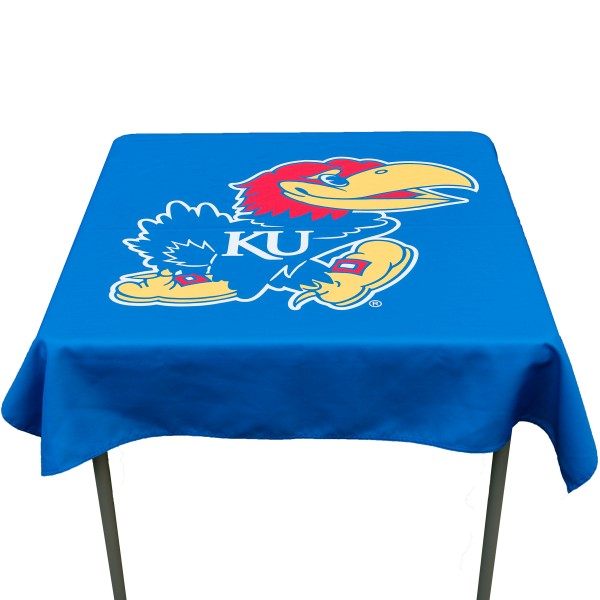 Kansas Jayhawks Table Cloth measures 48 x 48 inches, is made of 100% Polyester, seamless one-piece construction, and is perfect for any tailgating table, card table, or wedding table overlay. Each includes Officially Licensed Logos and Insignias.