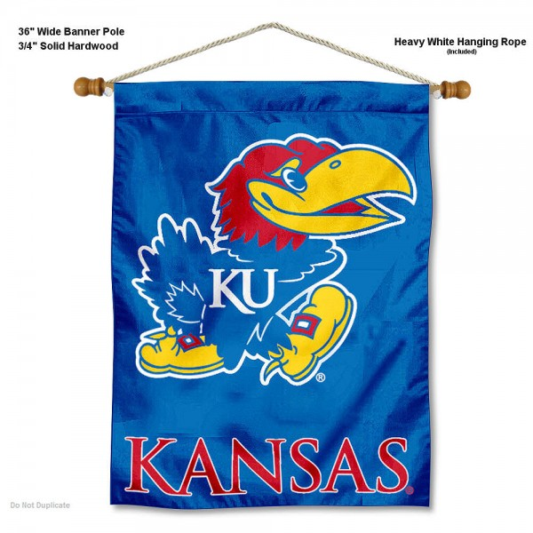 "Kansas Jayhawks Wall Banner is constructed of polyester material, measures a large 30""x40"", offers screen printed athletic logos, and includes a sturdy 3/4"" diameter and 36"" wide banner pole and hanging cord. Our Kansas Jayhawks Wall Banner is Officially Licensed by the selected college and NCAA."