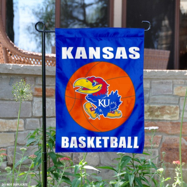 Kansas KU Jayhawks Basketball Garden Banner is 13x18 inches in size, is made of 2-layer polyester, screen printed athletic logos and lettering. Available with Same Day Express Shipping, Our Kansas KU Jayhawks Basketball Garden Banner is officially licensed and approved by the school and the NCAA.