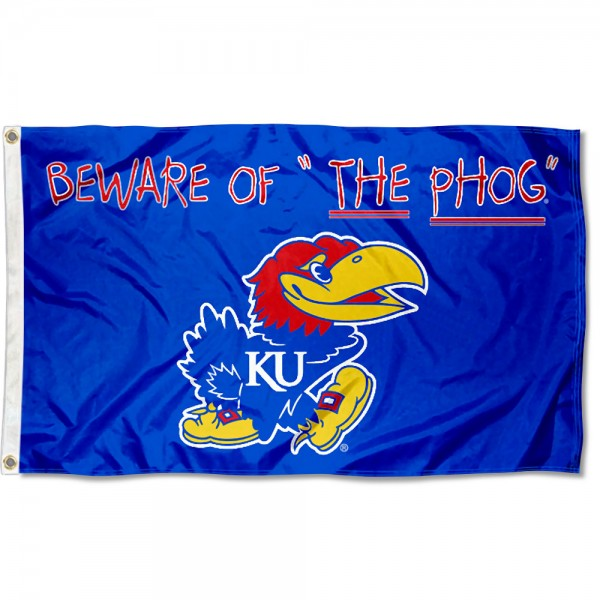 Kansas KU Jayhawks Beware of the PHOG Flag measures 3x5 feet, is made of 100% polyester, offers quadruple stitched flyends, has two metal grommets, and offers screen printed NCAA team logos and insignias. Our Kansas KU Jayhawks Beware of the PHOG Flag is officially licensed by the selected university and NCAA.
