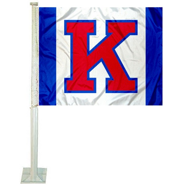Kansas KU Jayhawks Car Window Flag measures 12x15 inches, is constructed of sturdy 2 ply polyester, and has screen printed school logos which are readable and viewable correctly on both sides. Kansas KU Jayhawks Car Window Flag is officially licensed by the NCAA and selected university.