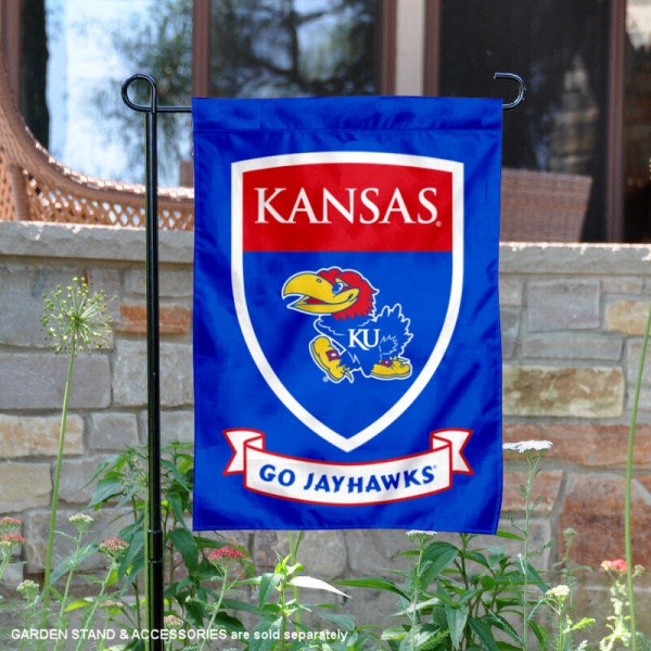 Kansas KU Jayhawks Go Jayhawks Shield Garden Flag is 13x18 inches in size, is made of thick blockout polyester, screen printed university athletic logos and lettering, and is readable and viewable correctly on both sides. Available same day shipping, our Kansas KU Jayhawks Go Jayhawks Shield Garden Flag is officially licensed and approved by the university and the NCAA.