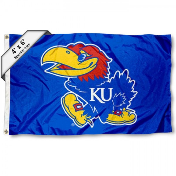 Kansas KU Jayhawks Large 4x6 Flag measures 4x6 feet, is made thick woven polyester, has quadruple stitched flyends, two metal grommets, and offers screen printed NCAA Kansas KU Jayhawks Large athletic logos and insignias. Our Kansas KU Jayhawks Large 4x6 Flag is officially licensed by Kansas KU Jayhawks and the NCAA.