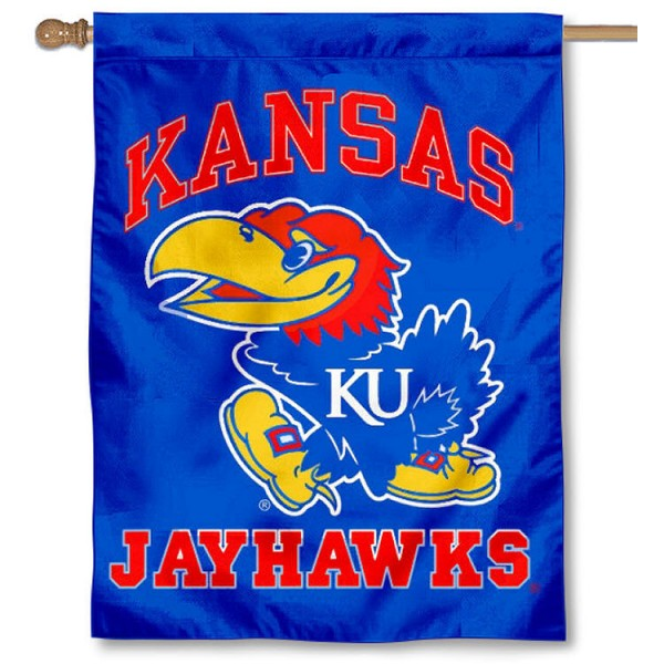Kansas KU Jayhawks Logo House Flag is a vertical house flag which measures 30x40 inches, is made of 2 ply 100% polyester, offers screen printed NCAA team insignias, and has a top pole sleeve to hang vertically. Our Kansas KU Jayhawks Logo House Flag is officially licensed by the selected university and the NCAA.