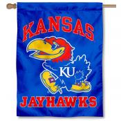 Kansas KU Jayhawks Logo House Flag