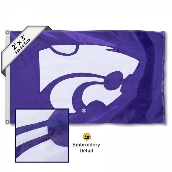 Kansas State Small 2'x3' Flag measures 2x3 feet, is made of 100% nylon, offers quadruple stitched flyends, has two brass grommets, and offers embroidered Kansas State logos, letters, and insignias. Our Kansas State Small 2'x3' Flag is Officially Licensed by the selected university.