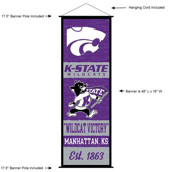 "This ""ready to hang"" Kansas State University Decor and Banner is made of polyester material, measures a large 17.5"" x 48"", offers screen printed athletic logos, and includes both top and bottom 3/4"" diameter plastic banner poles and hanging cord. Our Kansas State University D�cor and Banner is Officially Licensed by the selected college and NCAA."
