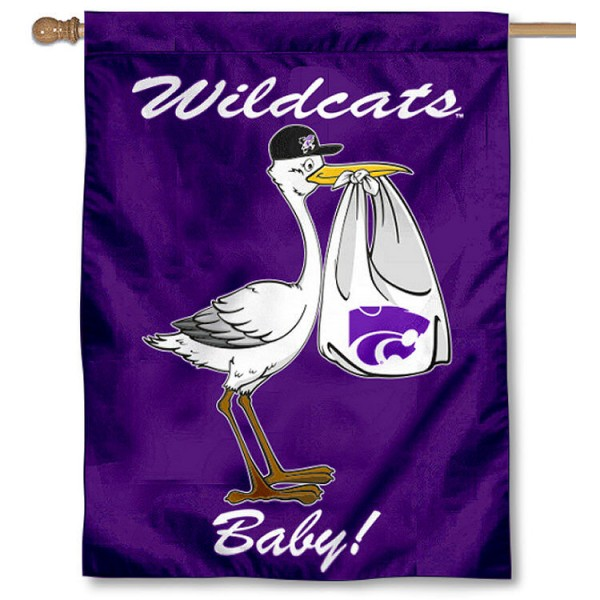 Kansas State University Flag New Baby Flag measures 30x40 inches, is made of poly, has a top hanging sleeve, and offers dye sublimated Wildcats logos. This Decorative Kansas State University Flag New Baby House Flag is officially licensed by the NCAA.