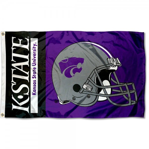 Kansas State University Football Flag measures 3'x5', is made of 100% poly, has quadruple stitched sewing, two metal grommets, and has double sided Kansas State University logos. Our Kansas State University Football Flag is officially licensed by the selected university and the NCAA.