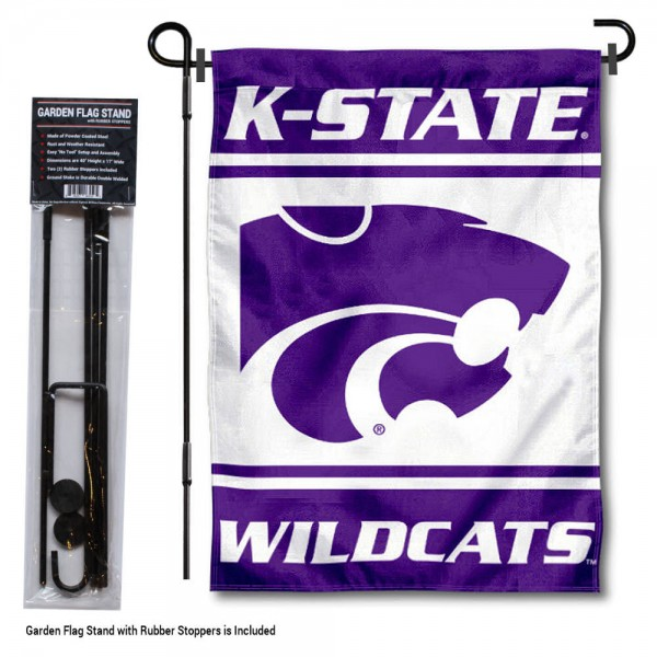 "Kansas State University Garden Flag and Stand kit includes our 13""x18"" garden banner which is made of 2 ply poly with liner and has screen printed licensed logos. Also, a 40""x17"" inch garden flag stand is included so your Kansas State University Garden Flag and Stand is ready to be displayed with no tools needed for setup. Fast Overnight Shipping is offered and the flag is Officially Licensed and Approved by the selected team."