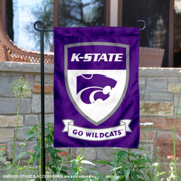 Kansas State University Go Wildcats Shield Garden Flag is 13x18 inches in size, is made of 2-layer polyester, screen printed university athletic logos and lettering, and is readable and viewable correctly on both sides. Available same day shipping, our Kansas State University Go Wildcats Shield Garden Flag is officially licensed and approved by the university and the NCAA.