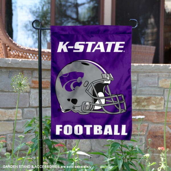 Kansas State University Football Helmet Garden Banner is 13x18 inches in size, is made of 2-layer polyester, screen printed Kansas State University athletic logos and lettering. Available with Same Day Express Shipping, Our Kansas State University Football Helmet Garden Banner is officially licensed and approved by Kansas State University and the NCAA.