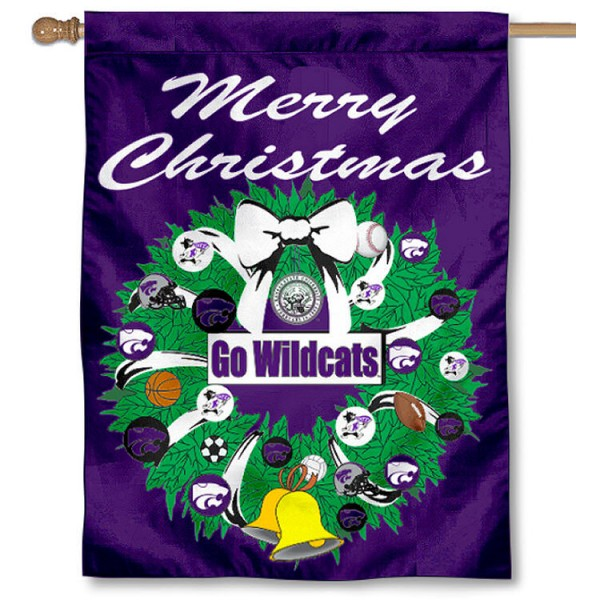 Kansas State University Holiday Flag is a decorative house flag, 30x40 inches, made of 100% polyester, Holiday NCAA team insignias, and has a top pole sleeve to hang vertically. Our Kansas State University Holiday Flag is officially licensed by the selected university and the NCAA.