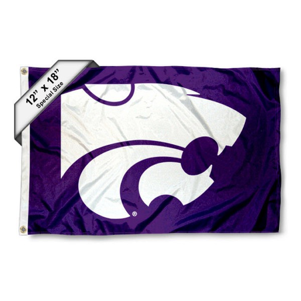 Kansas State University Mini Flag is 12x18 inches, polyester, offers quadruple stitched flyends for durability, has two metal grommets, and is double sided. Our mini flags for Kansas State University are licensed by the university and NCAA and can be used as a boat flag, motorcycle flag, golf cart flag, or ATV flag