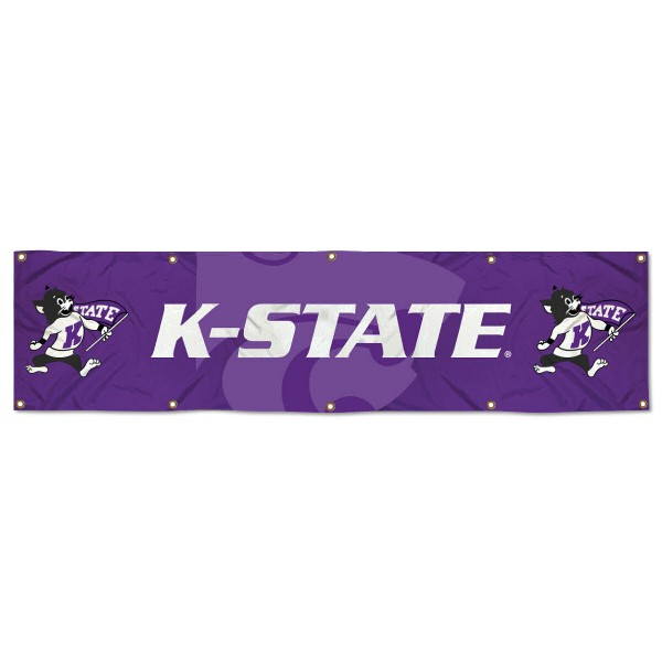 Kansas State Wildcats 8 Foot Large Banner measures 2x8 feet and displays Kansas State Wildcats logos. Our Kansas State Wildcats 8 Foot Large Banner is made of thick polyester and ten grommets around the perimeter for hanging securely. These banners for Kansas State Wildcats are officially licensed by the NCAA.