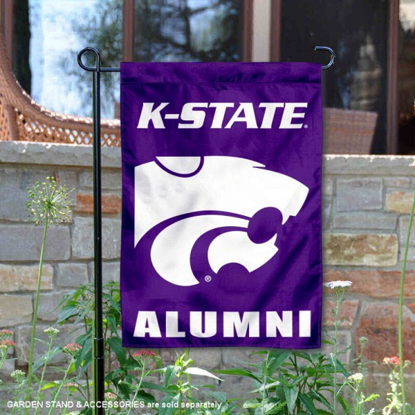 Kansas State Wildcats Alumni Garden Flag is 13x18 inches in size, is made of 2-layer polyester, screen printed university athletic logos and lettering, and is readable and viewable correctly on both sides. Available same day shipping, our Kansas State Wildcats Alumni Garden Flag is officially licensed and approved by the university and the NCAA.