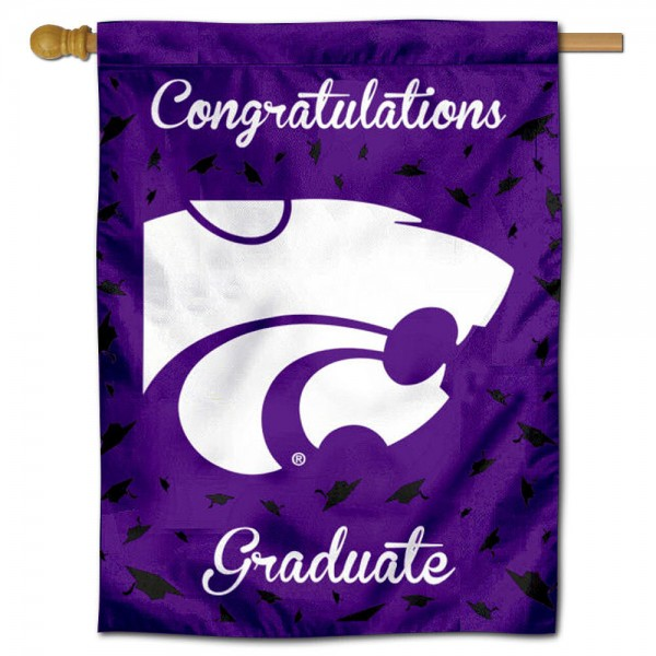 Kansas State Wildcats Congratulations Graduate Flag measures 30x40 inches, is made of poly, has a top hanging sleeve, and offers dye sublimated Kansas State Wildcats logos. This Decorative Kansas State Wildcats Congratulations Graduate House Flag is officially licensed by the NCAA.