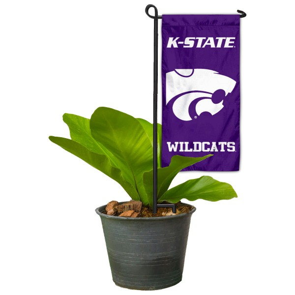 """Kansas State Wildcats Flower Pot Topper Flag kit includes our 4""""x8"""" mini garden banner and 6"""" x 14"""" mini garden banner stand. The mini flag is made of 1-ply polyester, has screen printed logos and the garden stand is made of steel and powder coated black. This kit is NCAA Officially Licensed by the selected college or university."""