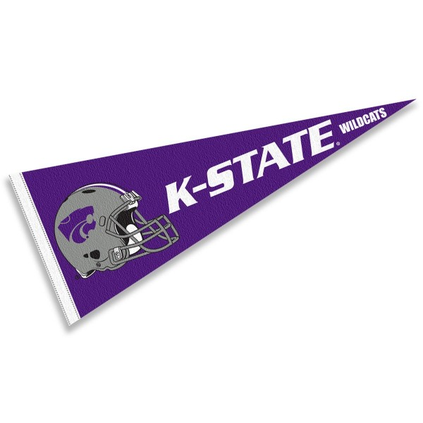 Kansas State Wildcats Helmet Pennant consists of our full size sports pennant which measures 12x30 inches, is constructed of felt, is single sided imprinted, and offers a pennant sleeve for insertion of a pennant stick, if desired. This Kansas State Wildcats Pennant Decorations is Officially Licensed by the selected university and the NCAA.