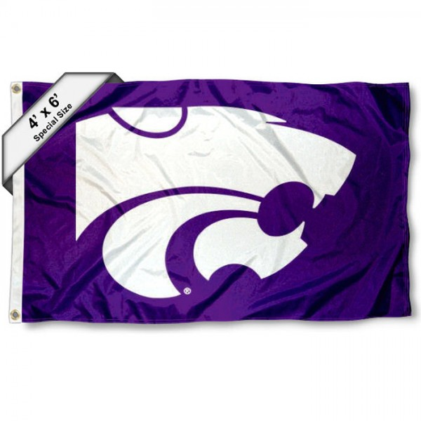 Kansas State Wildcats Large 4x6 Flag measures 4x6 feet, is made thick woven polyester, has quadruple stitched flyends, two metal grommets, and offers screen printed NCAA Kansas State Wildcats Large athletic logos and insignias. Our Kansas State Wildcats Large 4x6 Flag is officially licensed by Kansas State Wildcats and the NCAA.