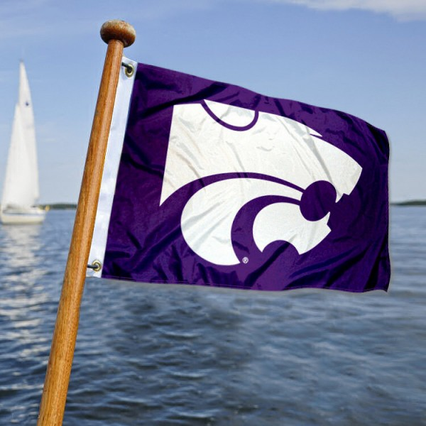 Kansas State Wildcats Nautical Flag measures 12x18 inches, is made of two-ply polyesters, offers quadruple stitched flyends for durability, has two metal grommets, and is viewable from both sides. Our Kansas State Wildcats Nautical Flag is officially licensed by the selected university and the NCAA and can be used as a motorcycle flag, golf cart flag, or ATV flag