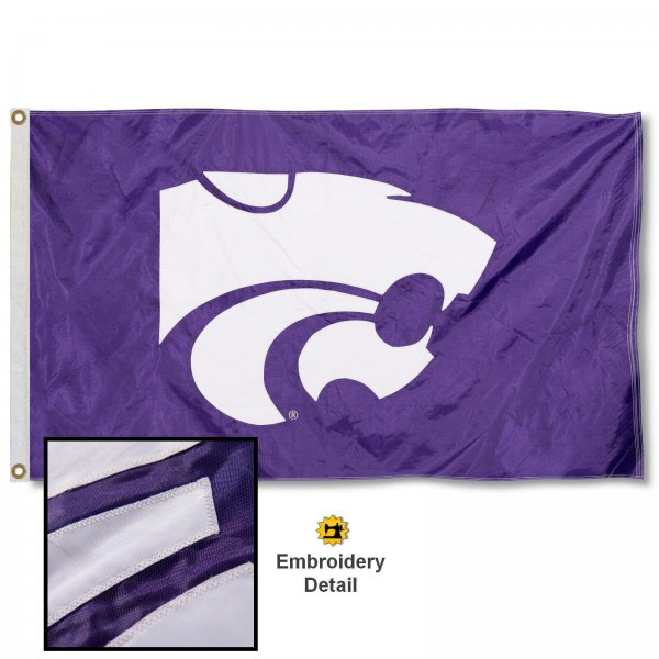 Kansas State Wildcats Nylon Embroidered Flag measures 3'x5', is made of 100% nylon, has quadruple flyends, two metal grommets, and has double sided appliqued and embroidered University logos. These Kansas State Wildcats 3x5 Flags are officially licensed by the selected university and the NCAA.