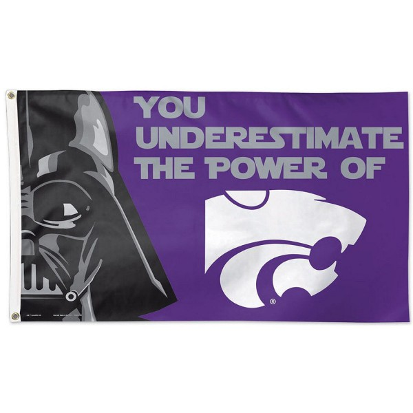 Kansas State Wildcats Star Wars Flag measures 3'x5', is made of 100% poly, has quadruple stitched sewing, two metal grommets, and has double sided Team University logos. Our Kansas State Wildcats Star Wars Flag is officially licensed by the selected university and the NCAA.