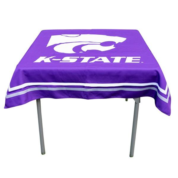 Kansas State Wildcats Table Cloth measures 48 x 48 inches, is made of 100% Polyester, seamless one-piece construction, and is perfect for any tailgating table, card table, or wedding table overlay. Each includes Officially Licensed Logos and Insignias.