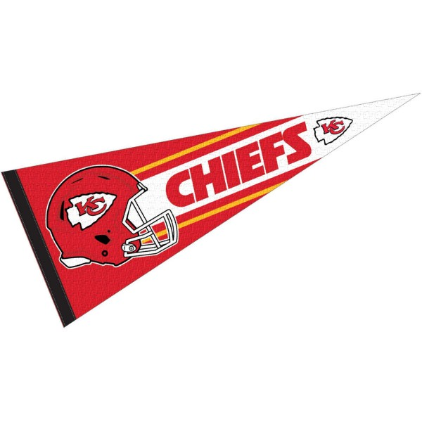 This KC Chiefs Football Pennant measures 12x30 inches, is constructed of felt, and is single sided screen printed with the KC Chiefs logo and helmets. This KC Chiefs Football Pennant is a NFL Officially Licensed product.