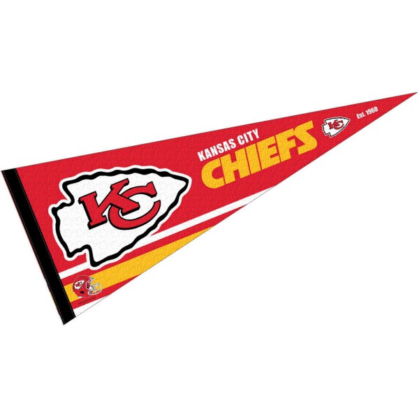 This KC Chiefs Full Size Pennant is 12x30 inches, is made of premium felt blends, has a pennant stick sleeve, and the team logos are single sided screen printed. Our KC Chiefs Full Size Pennant is NFL Officially Licensed.
