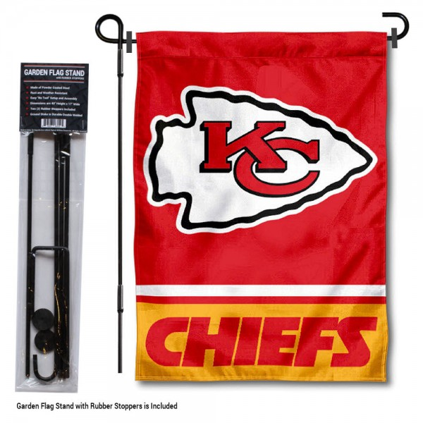 "KC Chiefs Garden Flag and Stand kit includes our 13""x18"" garden banner which is made of 2 ply poly with liner and has screen printed licensed logos. Also, a 40""x17"" inch garden flag stand is included so your KC Chiefs Garden Flag and Stand is ready to be displayed with no tools needed for setup. Fast Overnight Shipping is offered and the flag is Officially Licensed and Approved by the selected team."